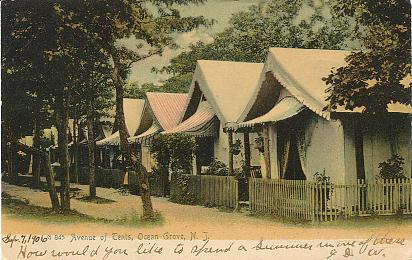 Avenue of tents Ocean Grove N. J. . Color printed postcard UB. Published by the Rotograph Co. N. Y. City. Number G845. Postmarked 1906 Ocean Grove ... & Antique American Postcards - New Jersey