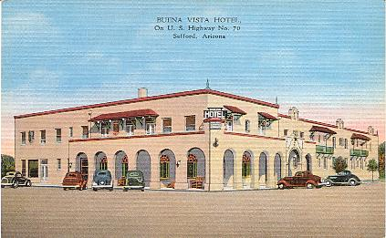 Buena Vista Hotel On U S Highway 70 Safford Arizona Color Linen Texture Printed Postcard Published By E C Kropp Co Milwaukee Wis