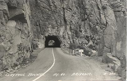 Claypool Tunnel~Superior Miami Highway RPPC Vintage Tonto