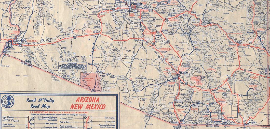 Historic U S Highway Through Arizona On Vintage Postcards - Road map of arizona