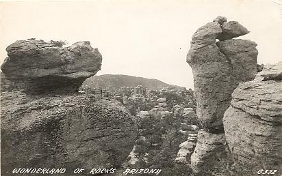 Site displays vintage postcards of Chiricahua National Monument in Arizona.