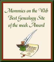 Mommies on the Web Best Genealogy Site of the Week Award