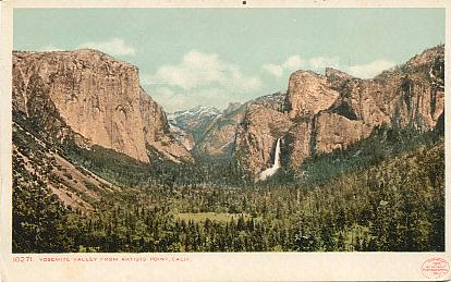 The website displays vintage postcards and other paper collectibles, photos and souvenirs of Yosemite National Park in east-central California.